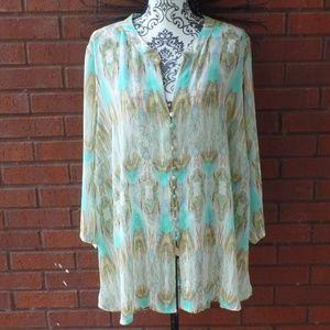 Rose & Olive Semi Sheer Blouse Pin Pleat Plus 2X